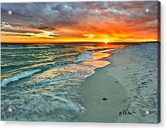 Red Orange Beach Sunset Acrylic Print by Eszra Tanner