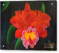 Acrylic Print featuring the painting Red Orchid by Jenny Lee