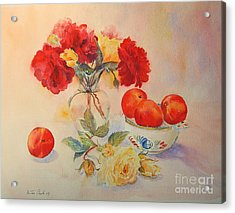 Acrylic Print featuring the painting Red Roses Jazz by Beatrice Cloake