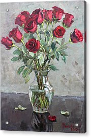 Red Roses Acrylic Print by Ylli Haruni