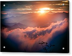 Red Sunset Himalayas Mountain Nepal Acrylic Print
