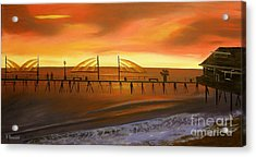 Redondo Beach Pier At Sunset Acrylic Print by Bev Conover
