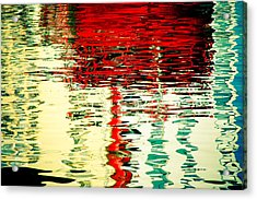 Reflection In Water Of Red Boat Acrylic Print