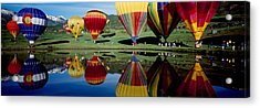 Reflection Of Hot Air Balloons Acrylic Print by Panoramic Images