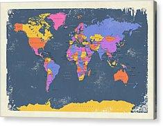 Retro Political Map Of The World Acrylic Print
