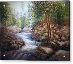 Acrylic Print featuring the painting River Falls by Laila Awad Jamaleldin