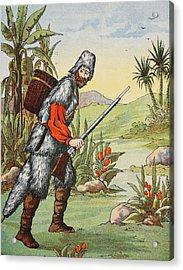 Robinson Crusoe Acrylic Print by English School