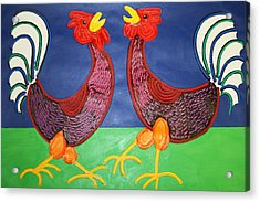 2 Roosters Acrylic Print