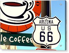Acrylic Print featuring the digital art Route 66 Coffee by Valerie Reeves