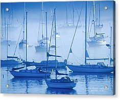 Acrylic Print featuring the photograph Sailboats In The Fog - Maine by David Perry Lawrence
