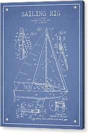 Sailing Rig Patent Drawing From 1967 Acrylic Print
