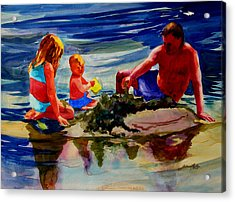 Sandcastles With Daddy Acrylic Print by Julianne Felton