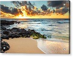 Sandy Beach Sunrise 7 Acrylic Print by Leigh Anne Meeks
