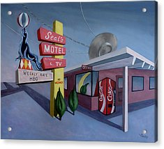 Acrylic Print featuring the painting Seal's Motel by Sally Banfill