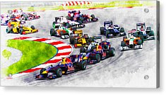 Sebastian Vettel Leads The Pack Acrylic Print