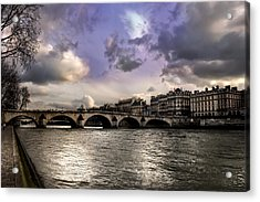 Sena River In Paris After Storm Acrylic Print
