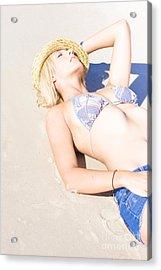 Sexy Woman On Sand Acrylic Print