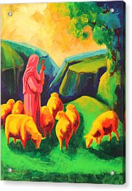 Sheep And Shepherd Painting Bertram Poole Acrylic Print by Thomas Bertram POOLE