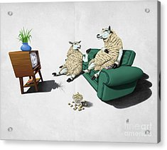 Acrylic Print featuring the drawing Sheep Wordless by Rob Snow