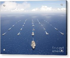 Ships And Submarines Participating Acrylic Print by Stocktrek Images