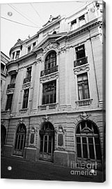 side of Santiago Stock Exchange building Chile Acrylic Print by Joe Fox