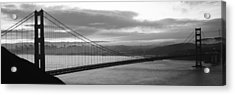 Silhouette Of A Suspension Bridge Acrylic Print by Panoramic Images
