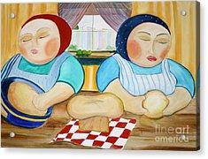Sisters Baking Acrylic Print by Teresa Hutto