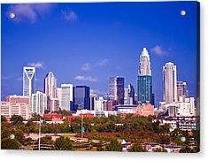 Skyline Of Uptown Charlotte North Carolina At Night Acrylic Print by Alex Grichenko
