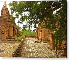Acrylic Print featuring the photograph Smaller Temples Next To Dhammayazika Pagoda Built In 1196 By King Narapatisithu Bagan Burma by Ralph A  Ledergerber-Photography