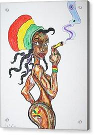 Acrylic Print featuring the painting Smoking Rasta Girl by Stormm Bradshaw