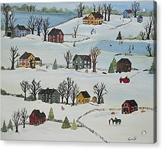 Acrylic Print featuring the painting Snow Day by Virginia Coyle