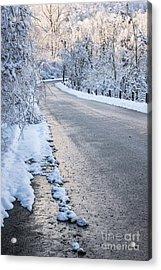 Snow On Winter Road Acrylic Print by Elena Elisseeva