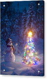 Snowman Stands In A Snowcovered Spruce Acrylic Print by Kevin Smith