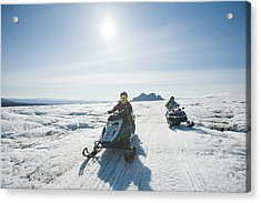 Snowmobilers Acrylic Print by Ashley Cooper