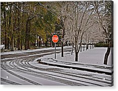 Acrylic Print featuring the photograph Snowy Street by Linda Brown