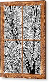 Snowy Tree Branches Barn Wood Picture Window Frame View Acrylic Print by James BO  Insogna