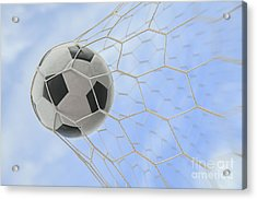 Soccer Ball In Goal Acrylic Print by Anek Suwannaphoom