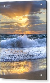 Splash Sunrise Acrylic Print by Debra and Dave Vanderlaan