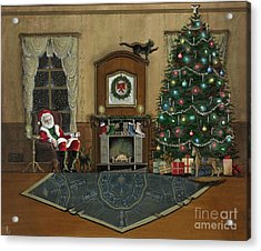 St. Nicholas Sitting In A Chair On Christmas Eve Acrylic Print by John Lyes