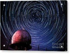 Star Trails And Radar Globe Acrylic Print by Eszter Kovacs