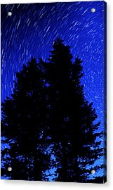 Star Trails In Night Sky Acrylic Print by Lane Erickson