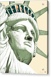 Statue Liberty - Pop Stylised Art Poster Acrylic Print by Kim Wang