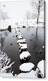 Stepping Stones Across A River Acrylic Print by Ashley Cooper