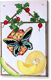 Acrylic Print featuring the painting Still Life With Moth #3 by Thomas Gronowski