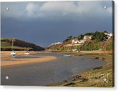 Acrylic Print featuring the photograph Storm Approaches The Gannel Estuary Newquay Cornwall by Nicholas Burningham
