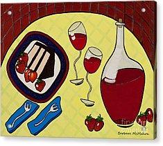 Strawberry Wine Acrylic Print by Barbara McMahon