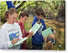 Students Studying River Water Quality Acrylic Print