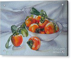 Acrylic Print featuring the painting Summer Harvest  1 Persimmon Diospyros by Sandra Phryce-Jones