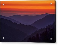 Sunset In The Smokies Acrylic Print by Andrew Soundarajan