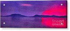 Sunset On Balaton Lake Acrylic Print by Odon Czintos